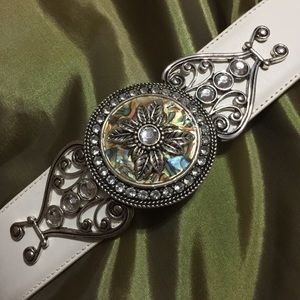 Abalone, silver, &white leather belt